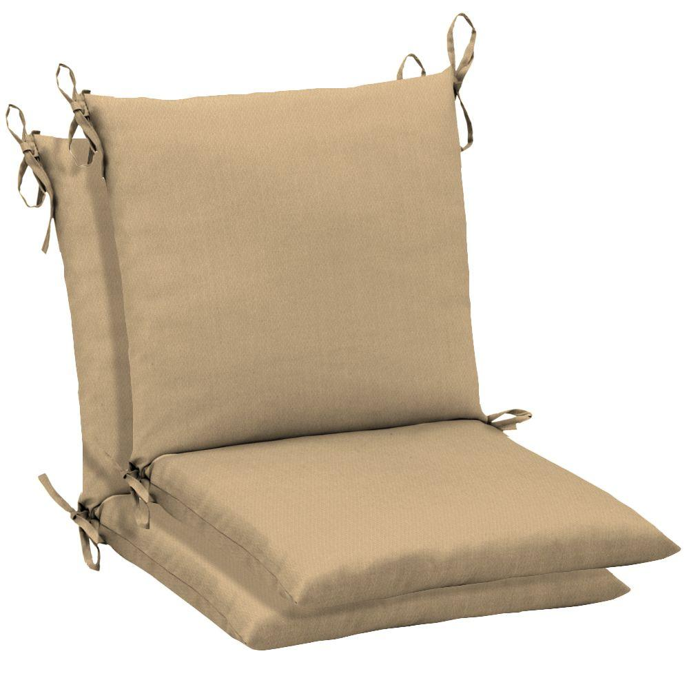 Arden Twilight Solid Khaki Mid Back Outdoor Chair Cushion (2-Pack)-DISCONTINUED