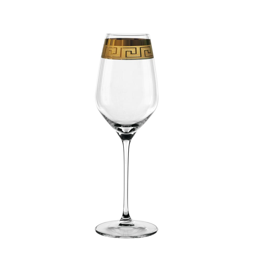 Muse 17.6 oz. White Wine Glasses in Clear with Gold Trim