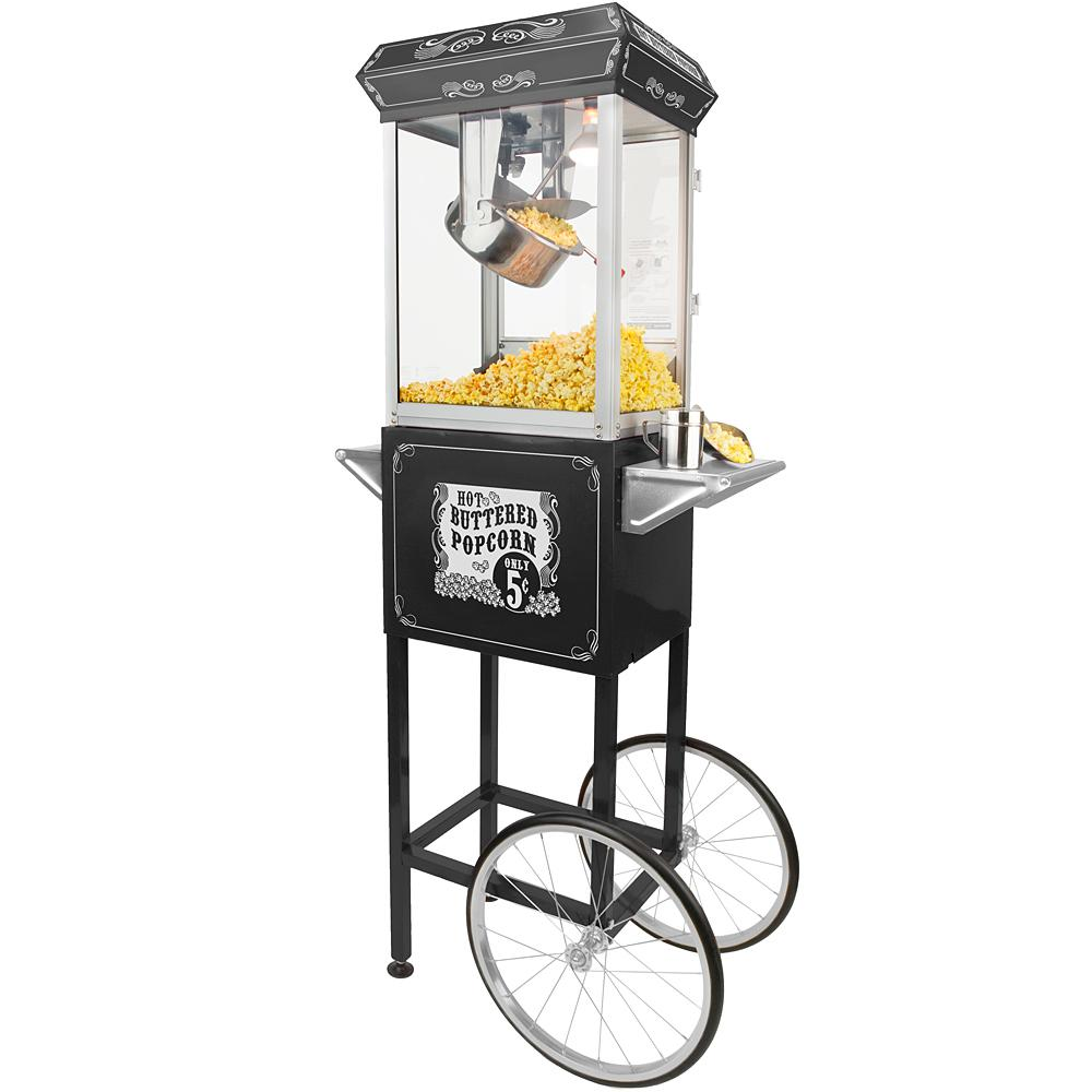 4 oz. Hot Oil Popcorn Popper Machine with Cart in Black
