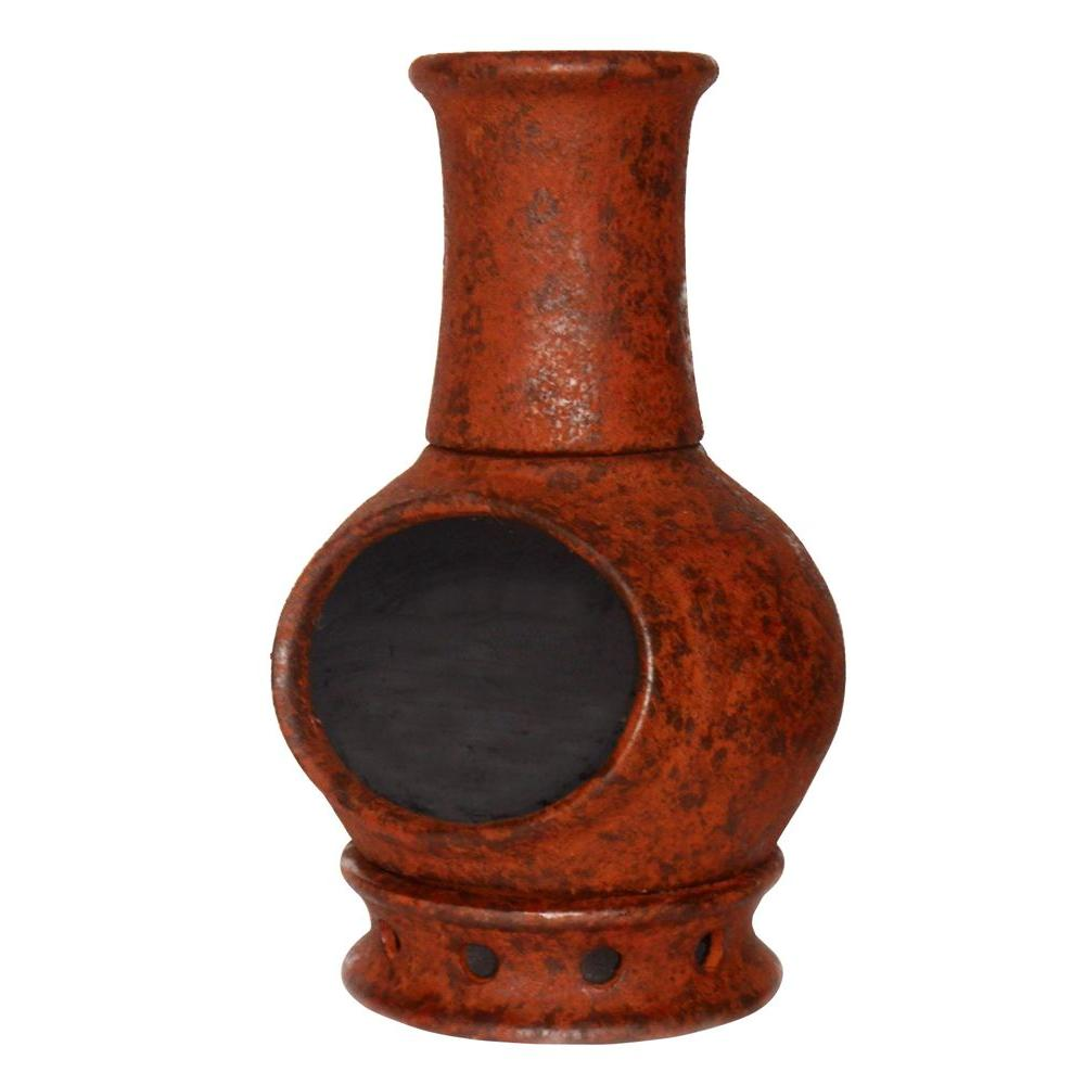 Hampton bay 54 in cast iron chiminea w129c the home depot for Terracotta chiminea