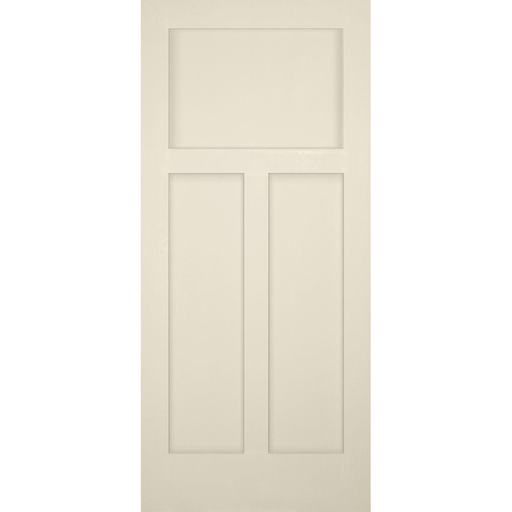 Builder 39 S Choice 36 In X 80 In 3 Panel Craftsman Solid Core Primed Pine Single Prehung