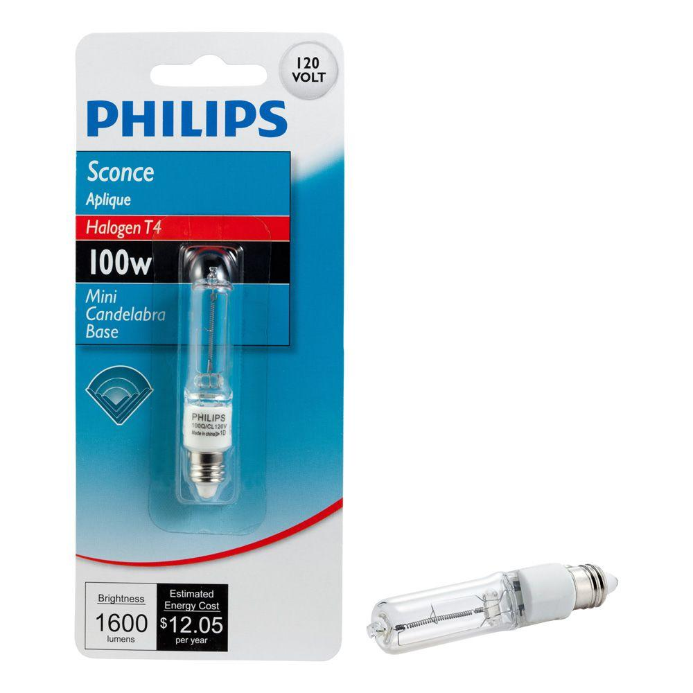 Philips 100-Watt Halogen T4 Mini-Candelabra Base Sconce Dimmable Light Bulb