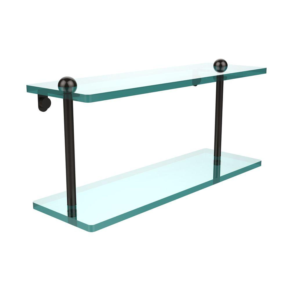 16 in. W 2-Tiered Glass Shelf in Oil Rubbed Bronze