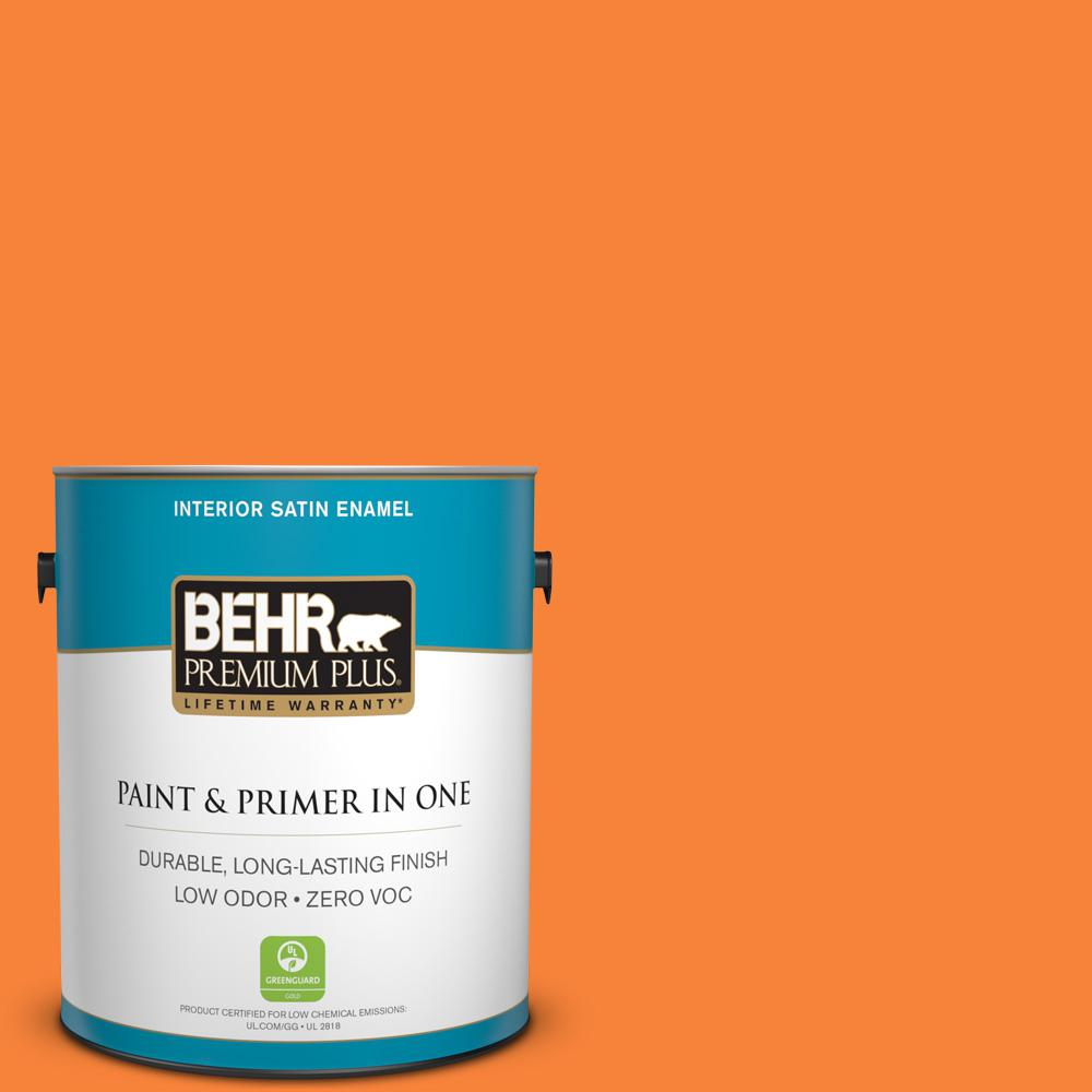 1-gal. #230B-6 Orange Burst Zero VOC Satin Enamel Interior Paint