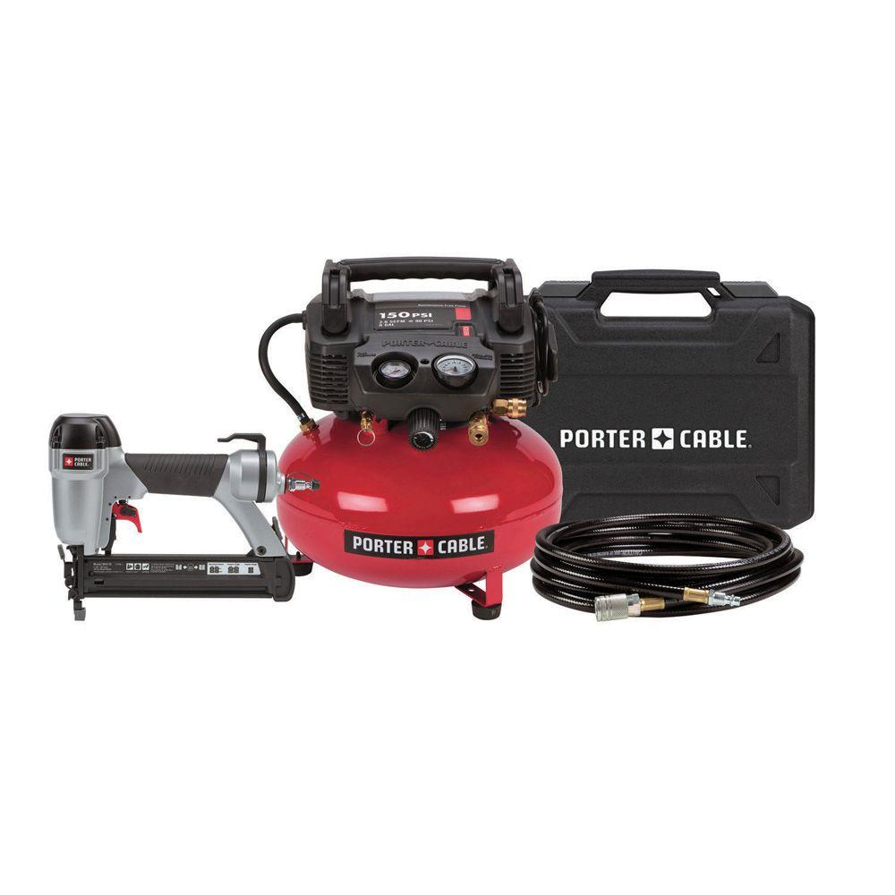 Porter-Cable 6 Gal. Portable Steel Electric Air Compressor and 1-3/8 in. Brad Nailer Combo Pack in Red