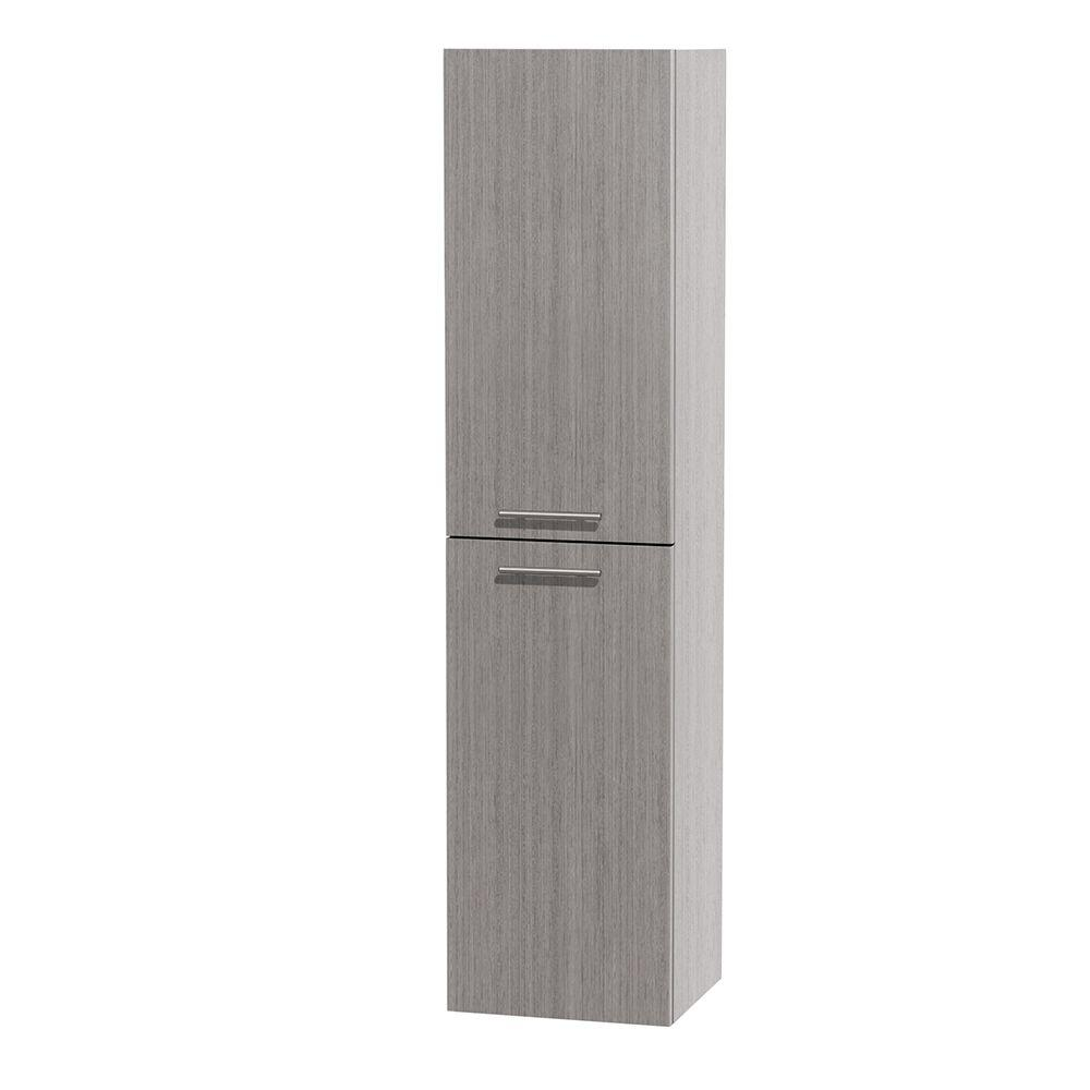Wyndham Collection Bailey 13-1/2 in. W x 56 in. H x 12-1/4 in. D Bathroom Storage Wall Cabinet in Grey Oak
