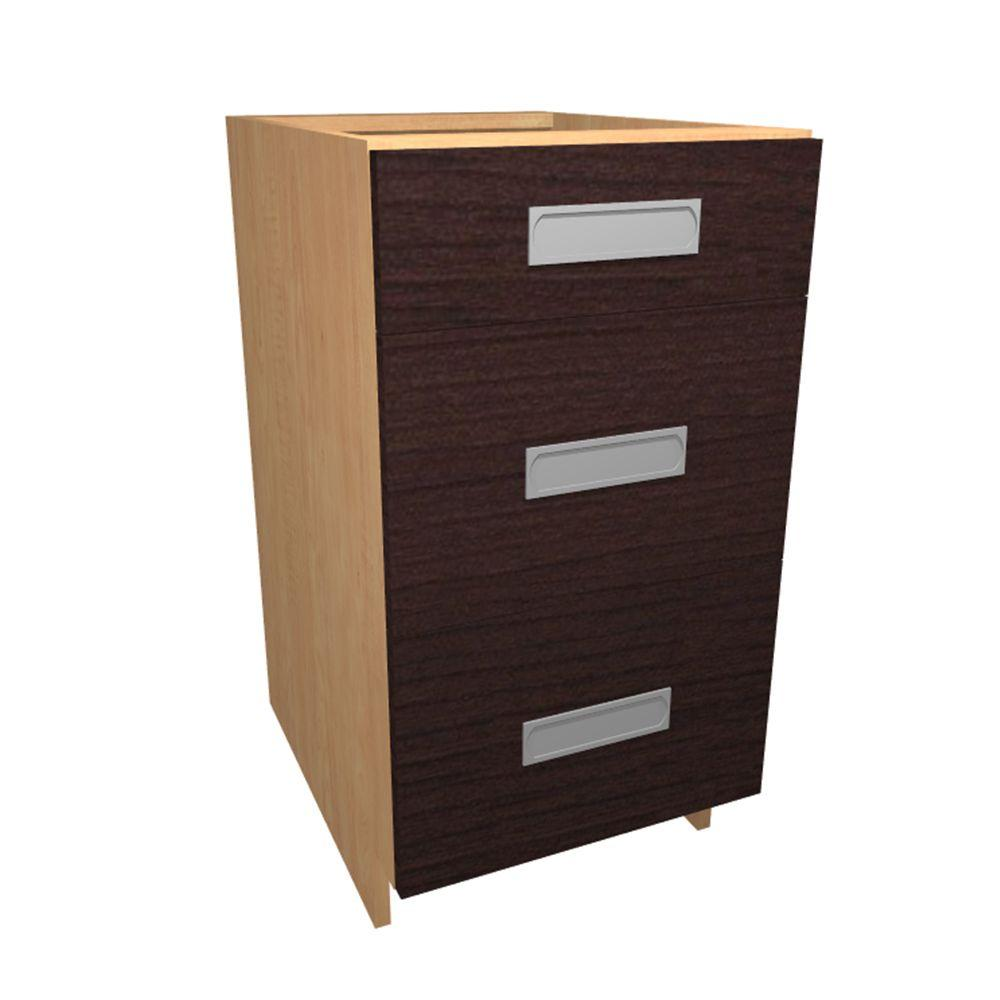 12x34.5x24 in. Genoa Base Drawer Cabinet with 3 Soft Close Drawer
