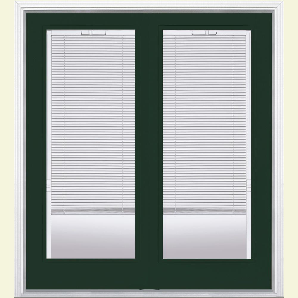 Masonite 72 in. x 80 in. Conifer Prehung Right-Hand Inswing Mini Blind Fiberglass Patio Door with Brickmold in Vinyl Frame