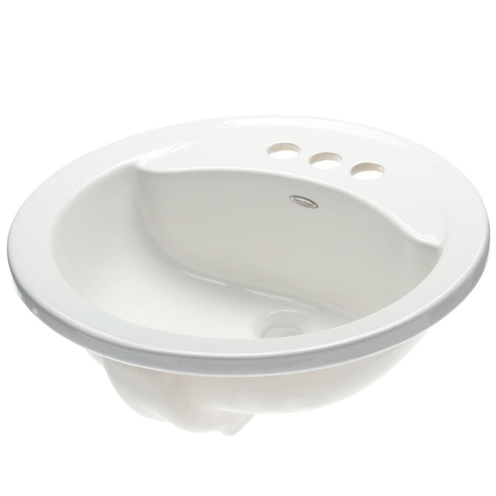 Cadet Round Self-Rimming Drop-In Bathroom Sink in White