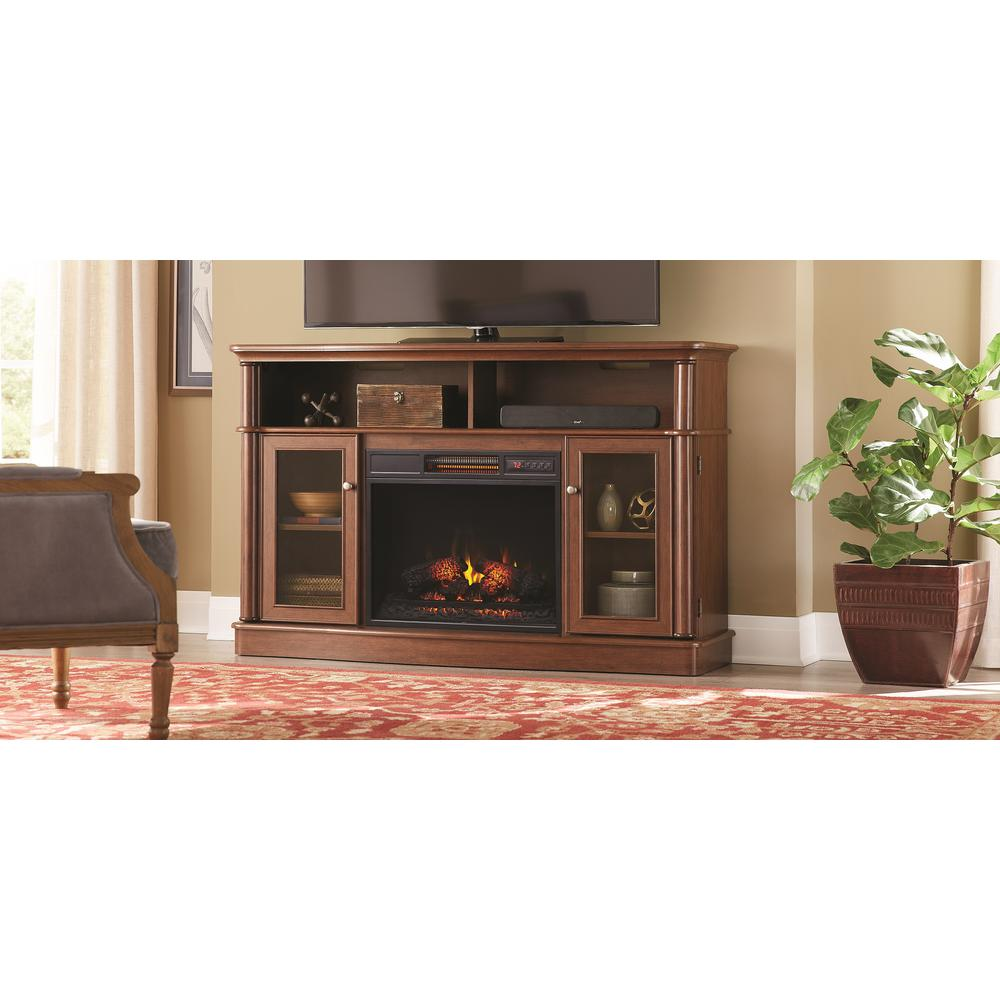 Home Decorators Collection Tolleson 56 In Media Console Infrared Bow Front Electric Fireplace