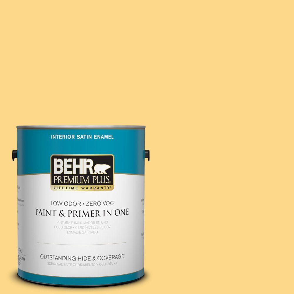 BEHR Premium Plus 1-gal. #P280-4 Surfboard Yellow Satin Enamel Interior Paint