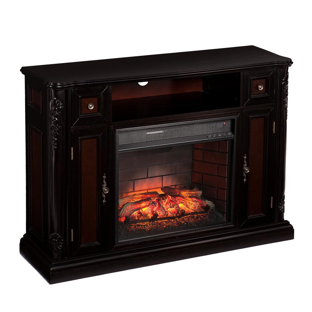 Bristol 48 in. W Infrared Media Fireplace in Ebony with Antique
