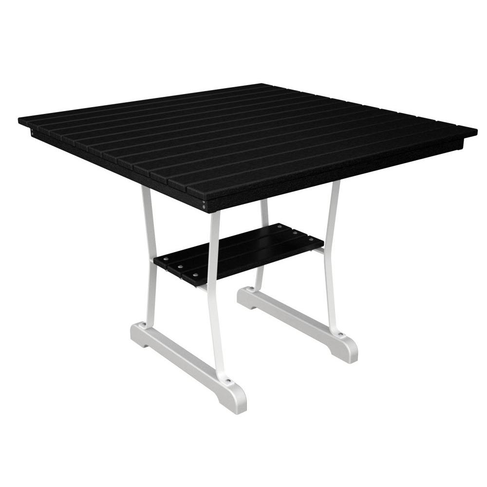 Ivy Terrace White and Black 36 in. Patio Dining Table-DISCONTINUED