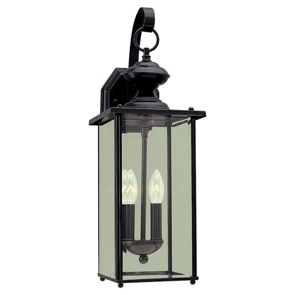 Sea Gull Lighting Jamestowne 2-Light Black Outdoor Wall Fixture-8468-12 - The
