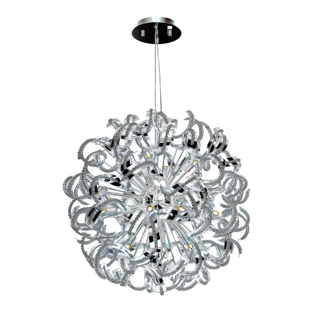Worldwide Lighting Medusa 25-Light Chrome and Clear Crystal Chandelier-W83112C28