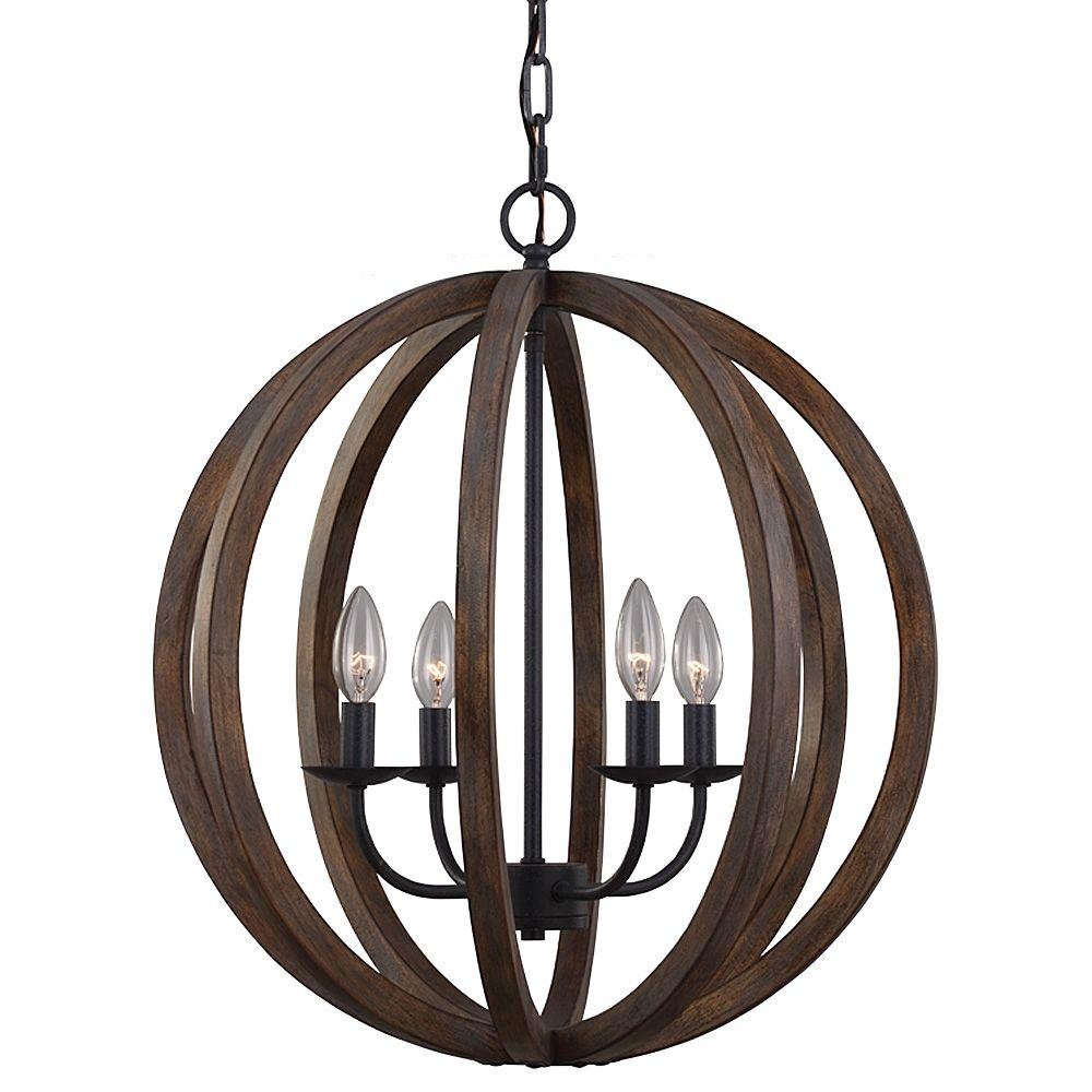 Feiss Allier 4-Light Weathered Oak Wood/Antique Forged