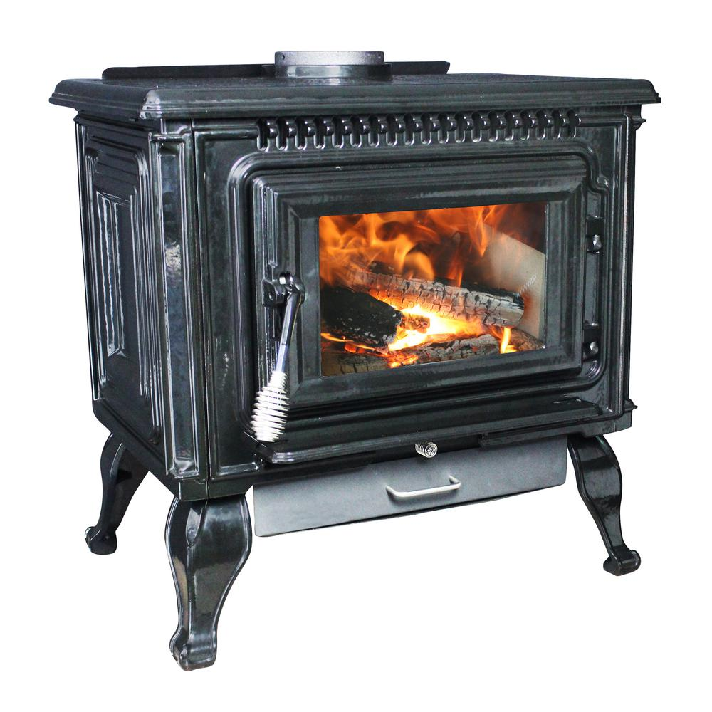 2,000 Sq. Ft. EPA Certified Black Enameled Porcelain Cast Iron Wood stove  with Blower - Ashley Hearth Products 2,000 Sq. Ft. EPA Certified Black Enameled