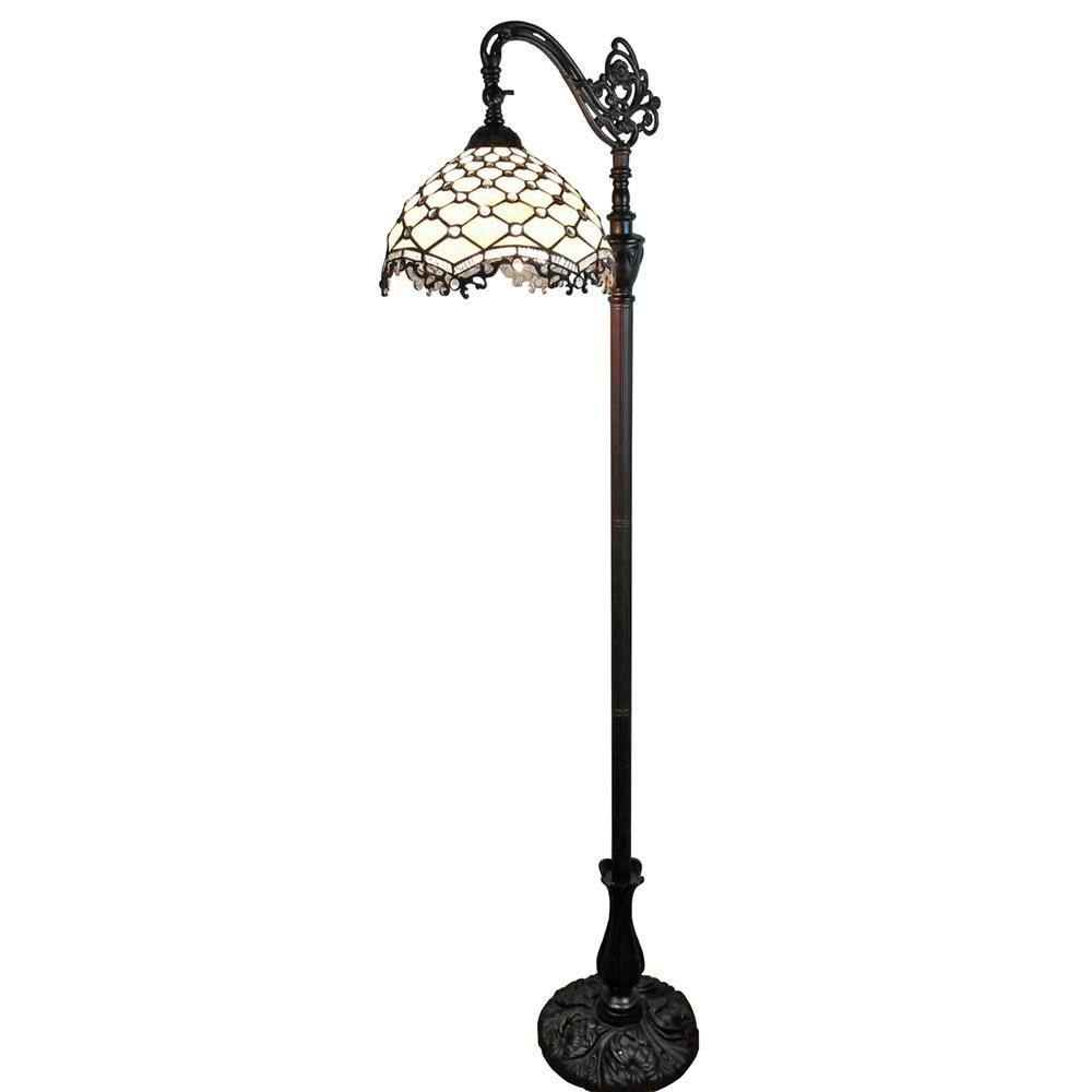 Amora Lighting 62 in. Tiffany Style Jeweled Reading Floor Lamp-AM122FL12 -