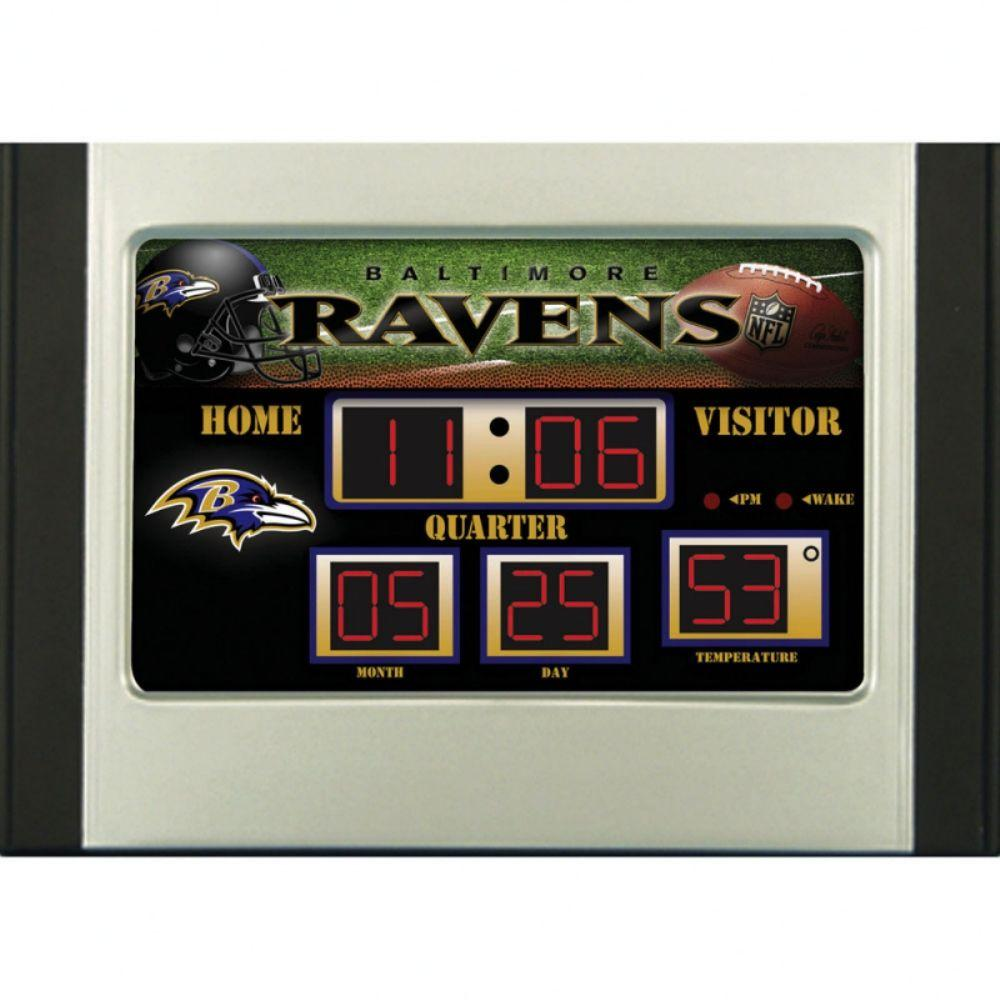 null Baltimore Ravens 6.5 in. x 9 in. Scoreboard Alarm Clock with Temperature