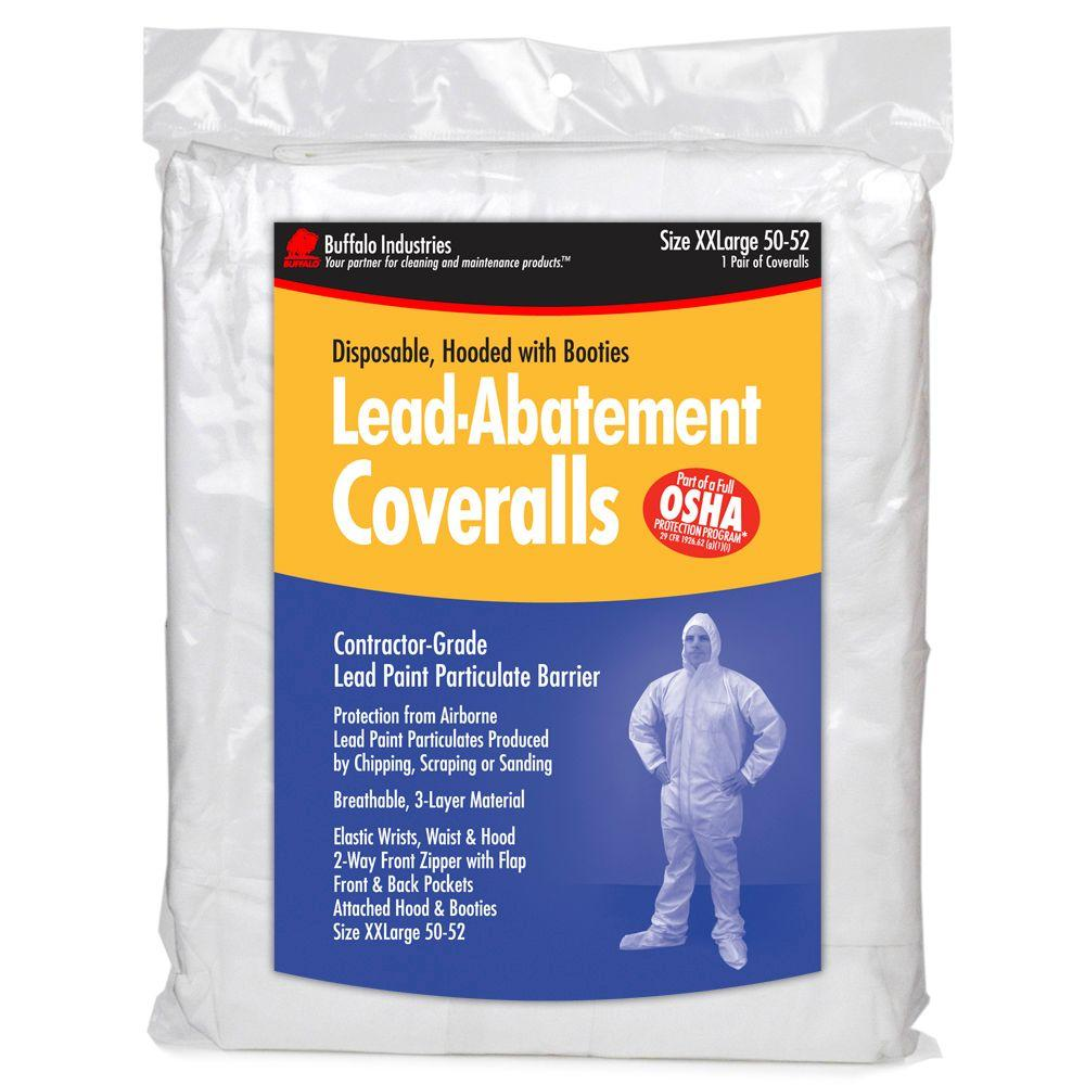 Buffalo Industries White Unisex 2X-Large Lead Abatement Coveralls-68443 - The