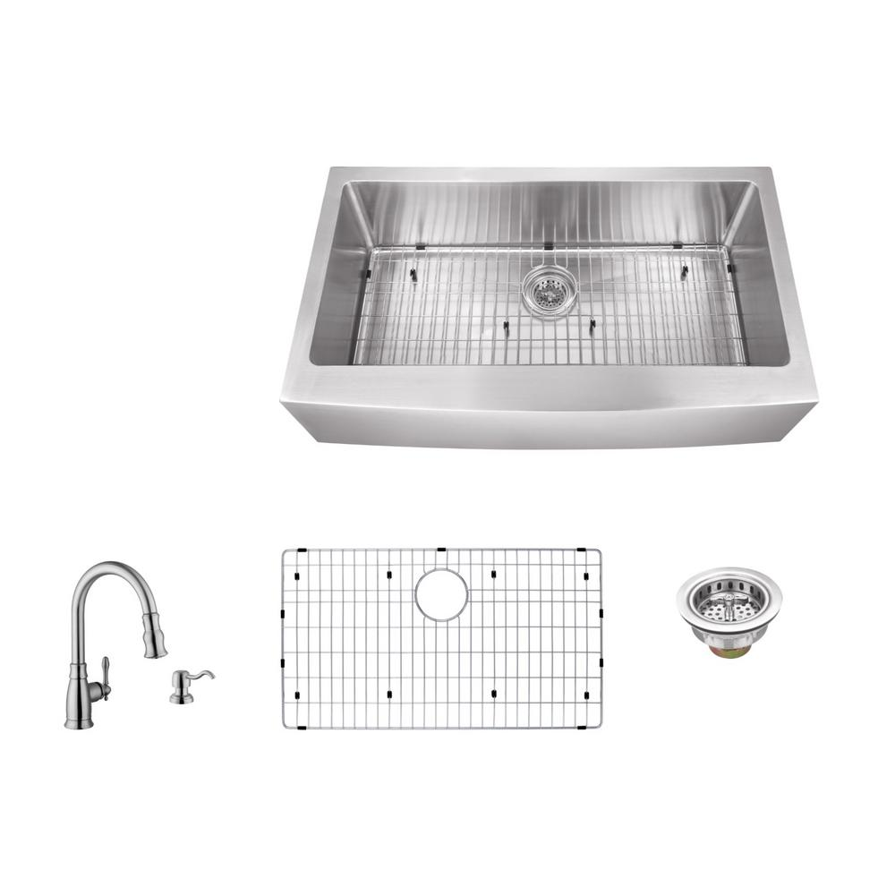 Apron Front 33 in. 16-Gauge Stainless Steel Single Bowl K...