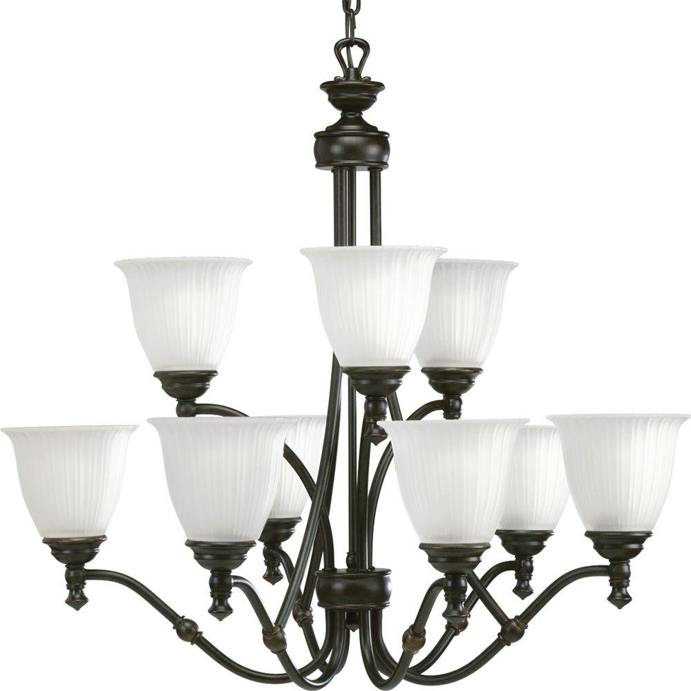 Progress Lighting Renovations Collection 9-Light Forged Bronze Chandelier