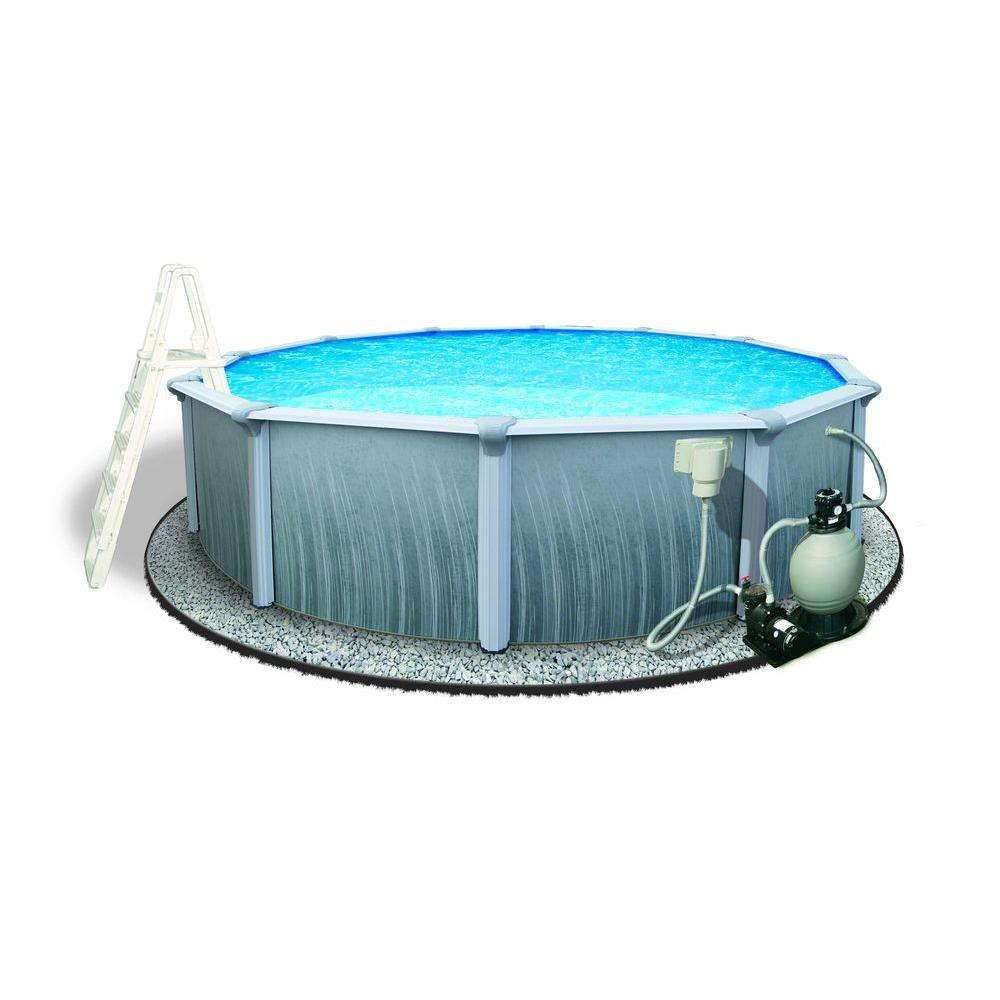 Blue Wave Martinique 18 ft. Round 52 in. Deep 7 in. Top Rail Metal Wall Swimming Pool Package