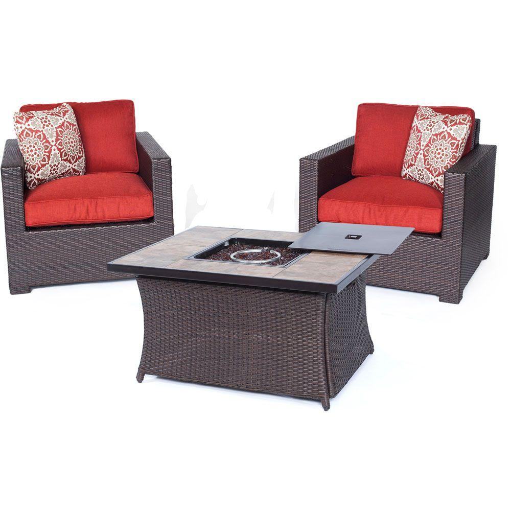 Hanover Metropolitan Brown 3-Piece All-Weather Wicker Patio LP Gas Fire Pit