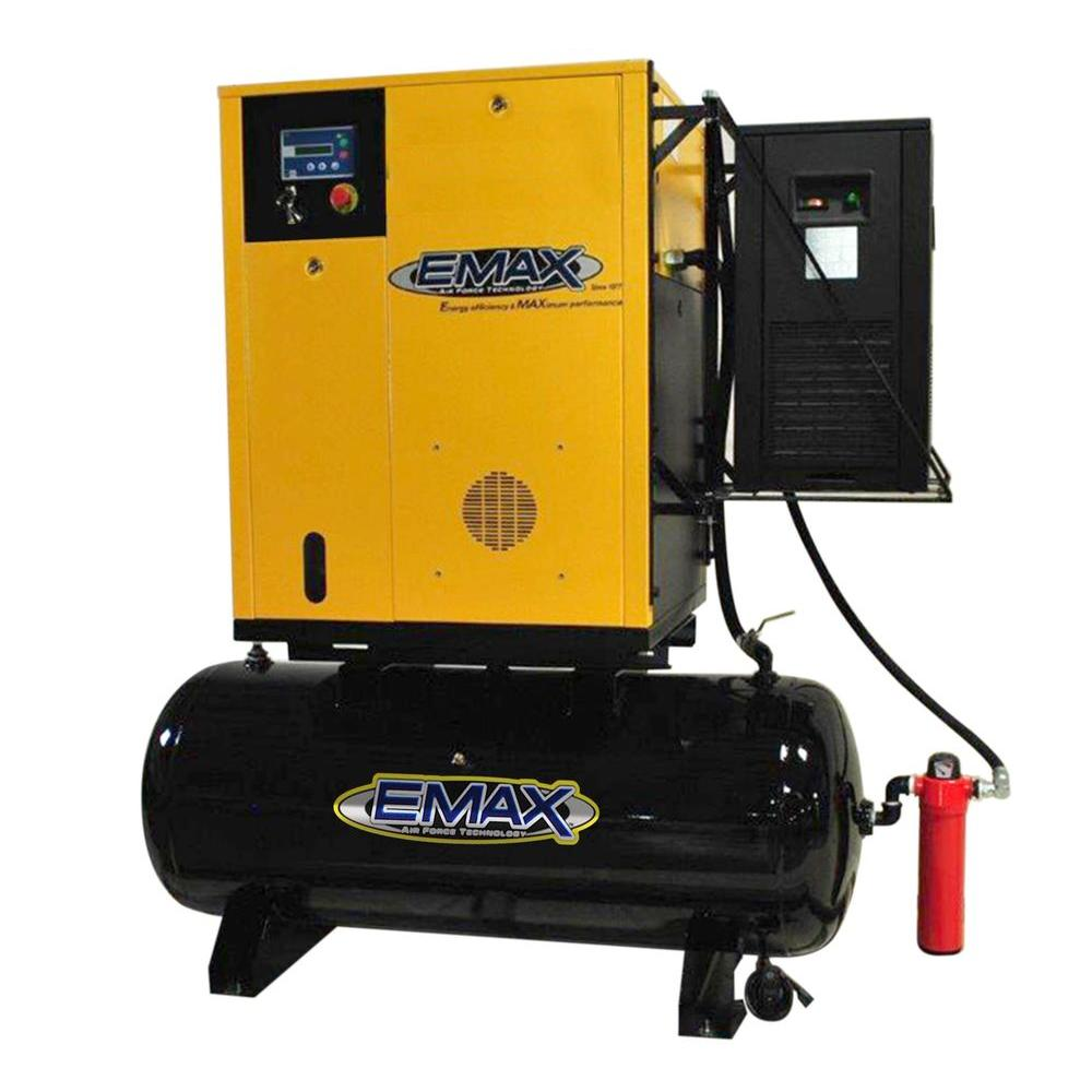 EMAX Premium Series 10 HP 1-Phase Variable Speed Rotary Screw Compressor