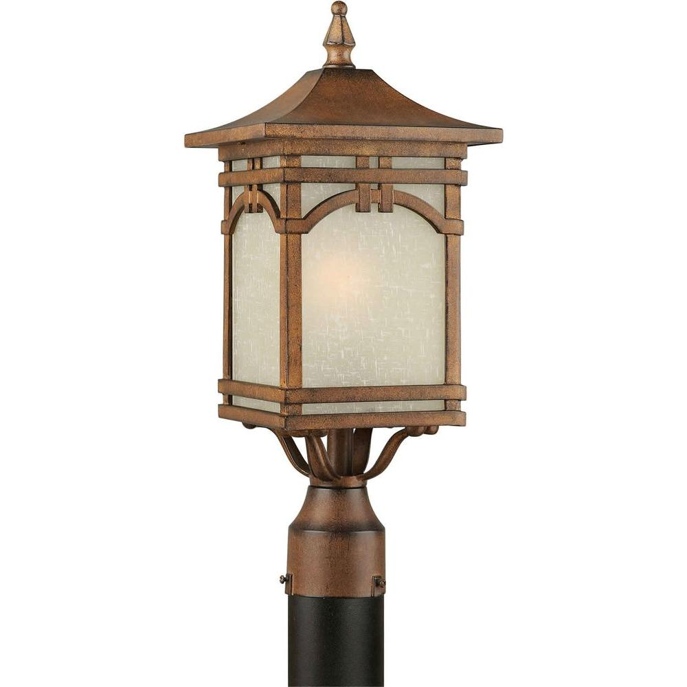 Illumine 1-Light Outdoor Post Rustic Sienna Finish Umber Linen Glass Panels-DISCONTINUED