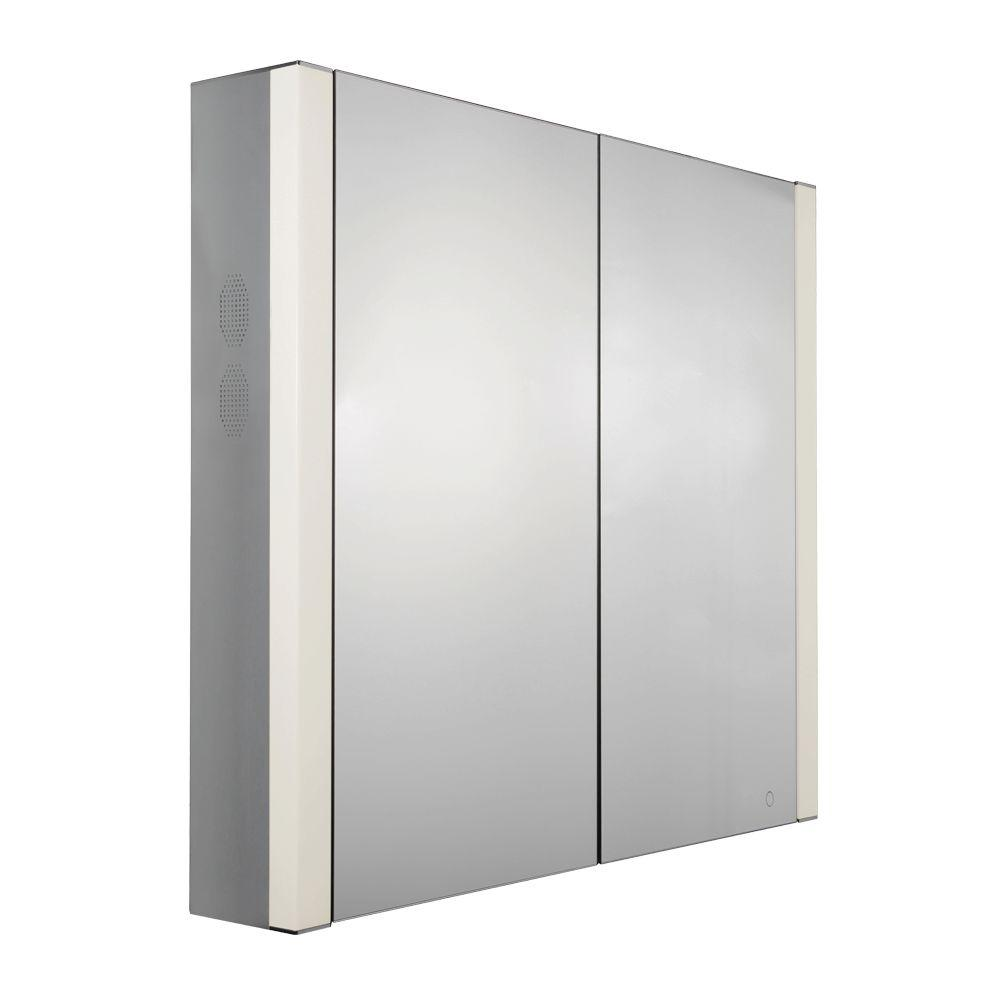 Whitehaus Collection Musichaus 27-1/2 in. W x 31-1/2 in. H x 6 in. D Surface-Mount Medicine Cabinet in Anodized Aluminum