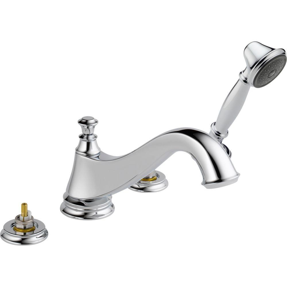 Cassidy 2-Handle Deck-Mount Roman Tub Faucet with Hand Shower Trim Kit