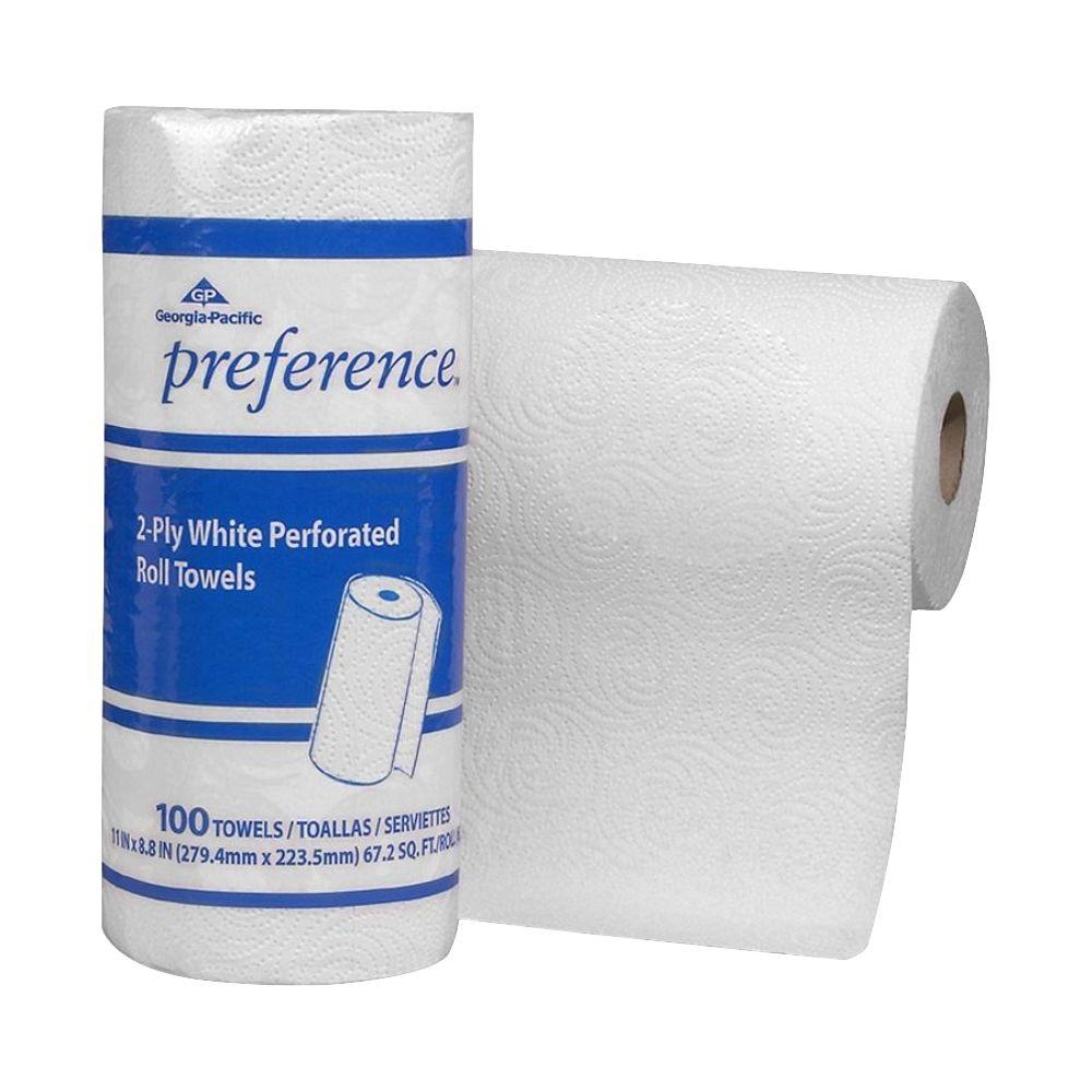 Preference White Perforated Roll Paper Towels (100 Sheets per Roll)