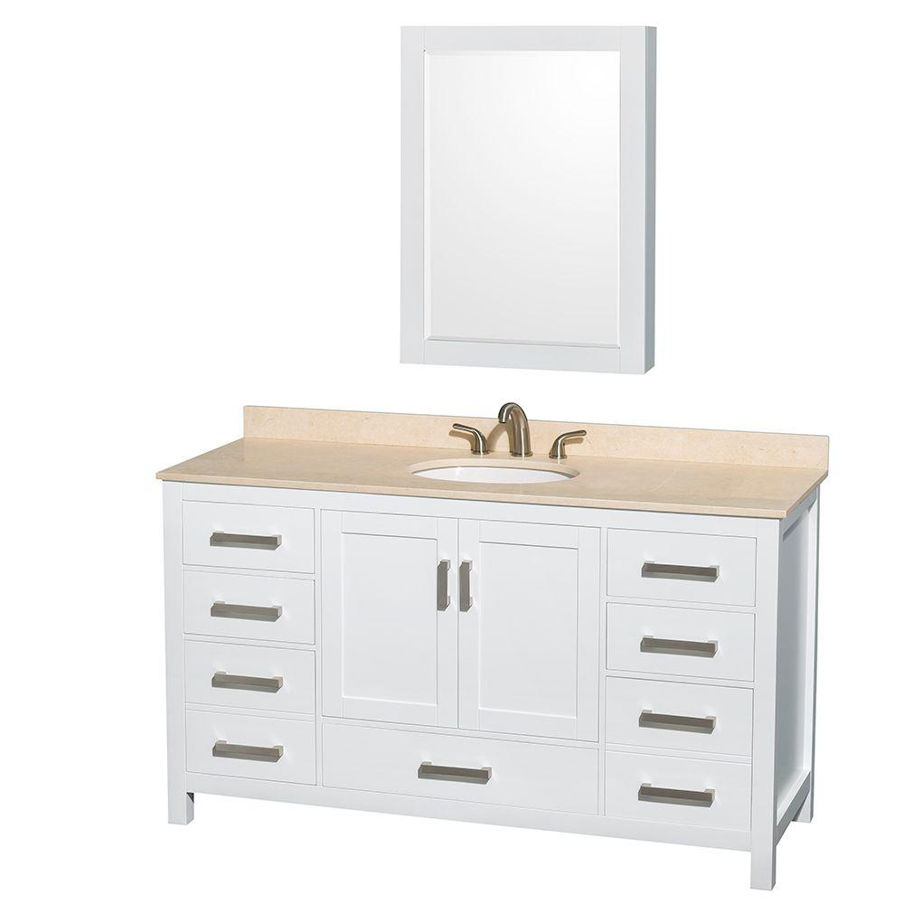 Wyndham Collection Sheffield 60 in. Vanity in White with Marble Vanity Top in Ivory and Medicine Cabinet