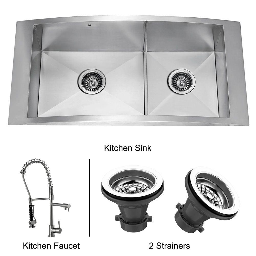 Vigo All-in-One Topmount Stainless Steel 36 x 17.5 x 8-3/4 2-Hole Double Bowl Kitchen Sink-DISCONTINUED