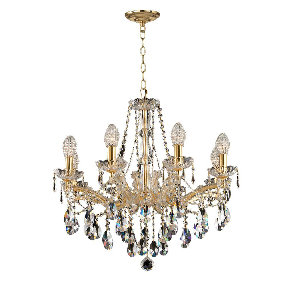 Dale Tiffany Marquette Crystal 8-Light Gold Chandelier