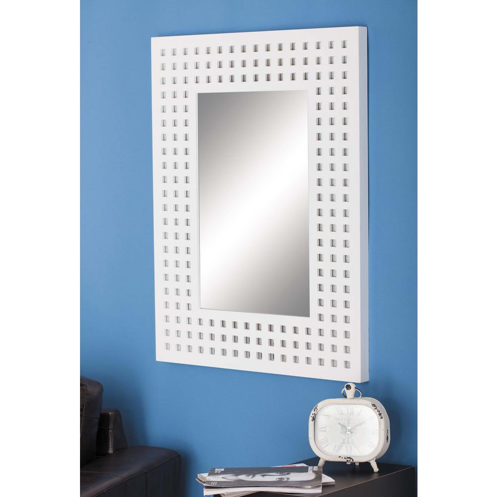 36 in. x 28 in. Modern White Square Cut-Outs Wall Mirror