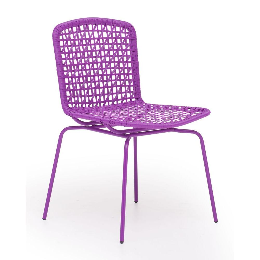 ZUO Silvermine Bay Purple Patio Chair (Set of 4)