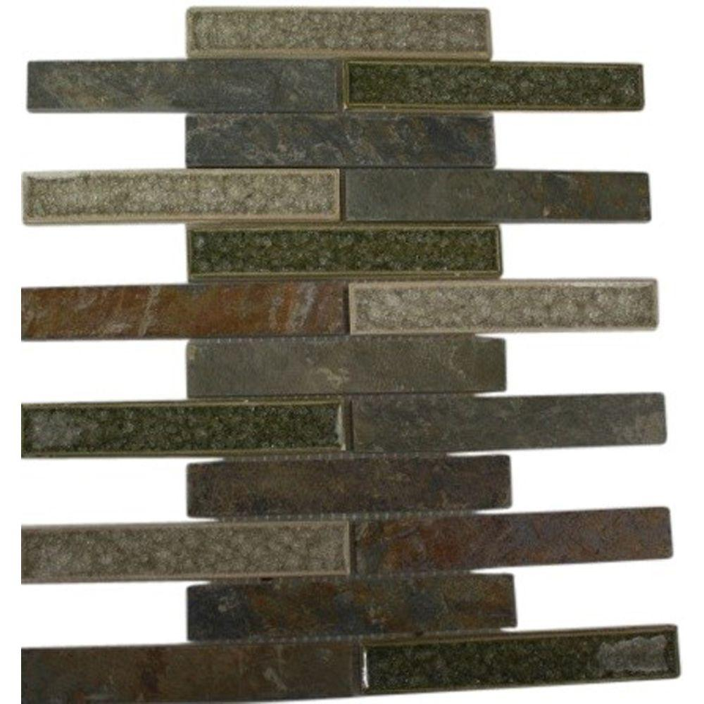 Splashback Tile Roman Selection Emperial Slate 12 in. x 12 in. x 8 mm Glass Mosaic Floor and Wall Tile