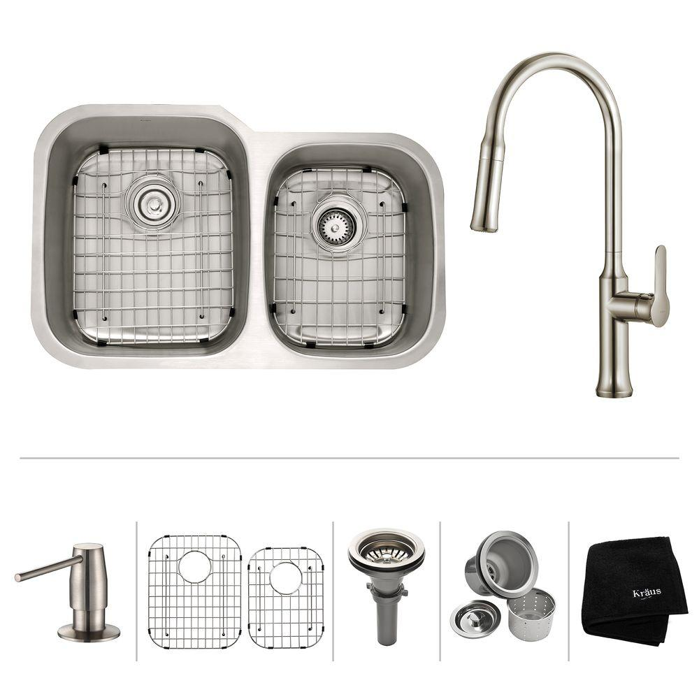 All-in-One Undermount Stainless Steel 32 in. Double Basin Kitchen Sink with