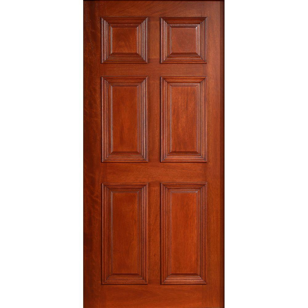 36 in. x 80 in. Solid Mahogany Type Prefinished Cherry 6-Panel Front Door Slab