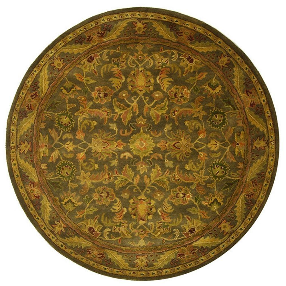 Safavieh Antiquity Green/Gold 6 ft. Round Area Rug-AT52K-6R - The Home
