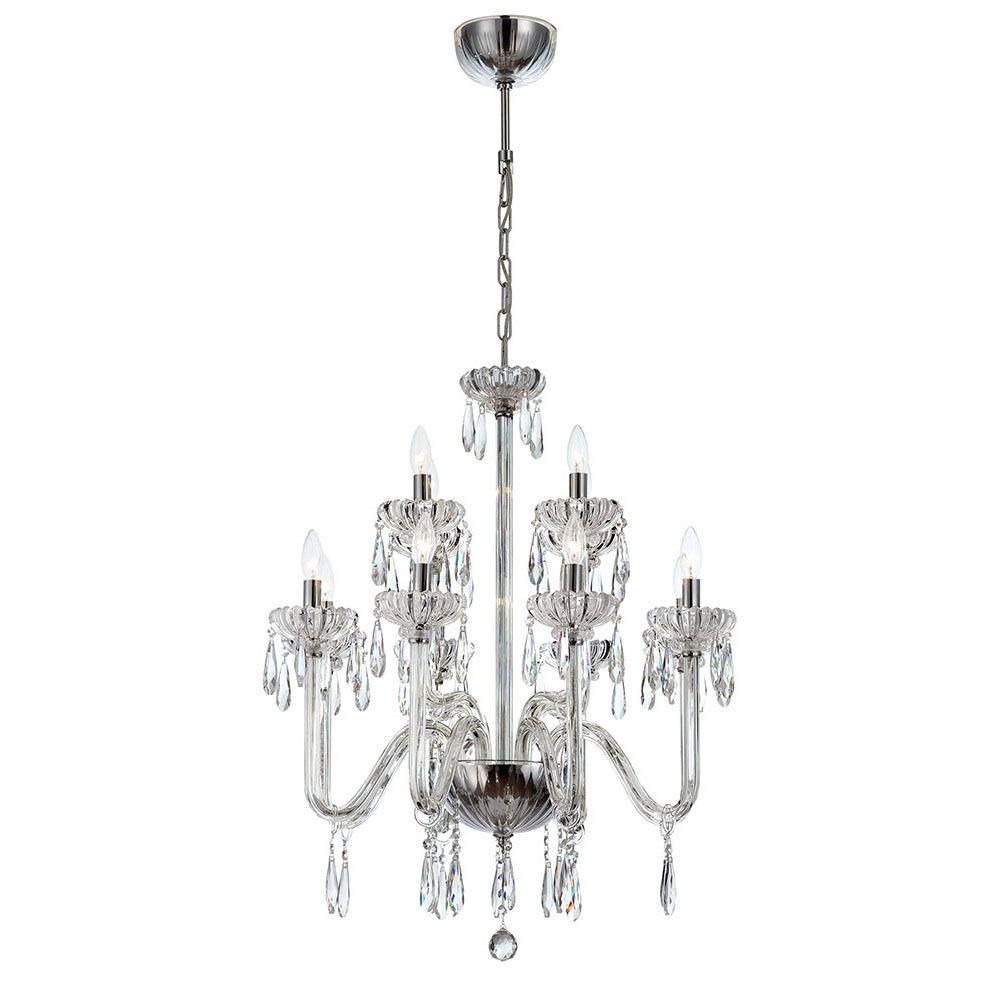 Villa 12-Light Chrome and Clear Chandelier