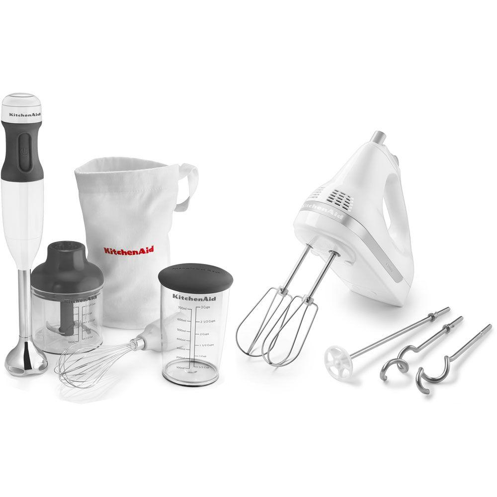 KitchenAid 5-Speed Ultra Power Hand Mixer in White and 3-Speed Immersion Blender/Chopper in White-DISCONTINUED