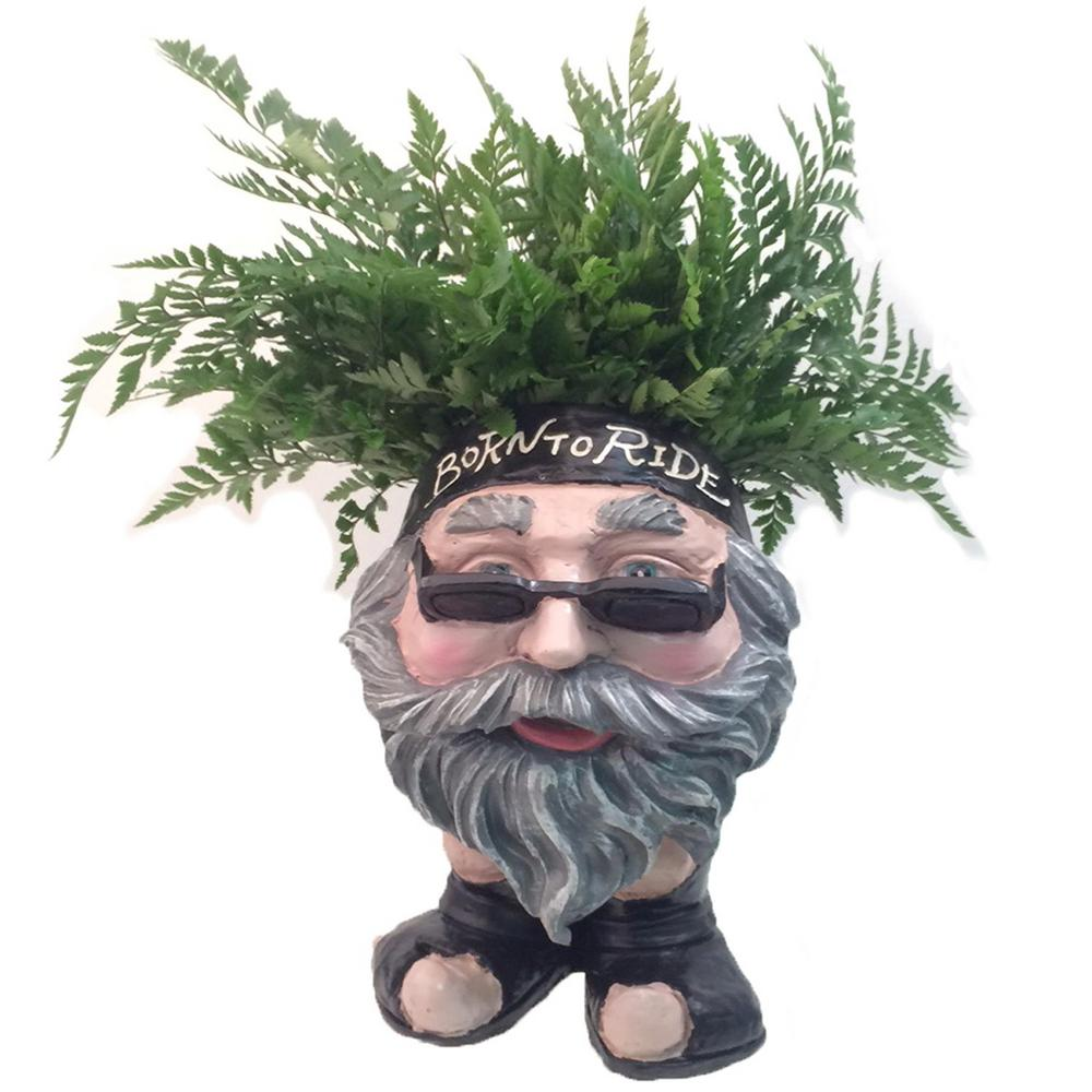 13 in. H Biker Dude Painted Muggly Face Planter in Motorcycle