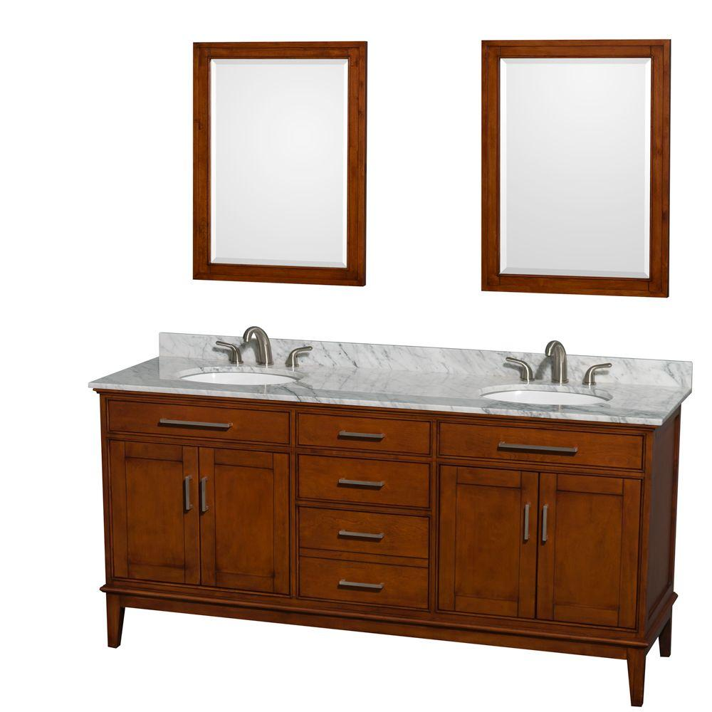 Wyndham Collection Hatton 72 in. Double Vanity in Light Chestnut with