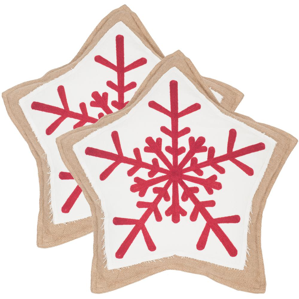 Snowflake Cookie Seasonal Chic Pillow (2-Pack), Red/White