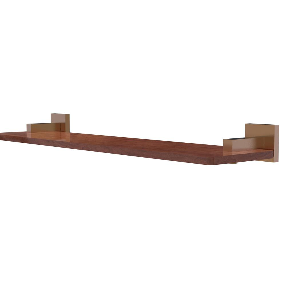 Montero Collection 22 in. Solid IPE Ironwood Shelf in Brushed Bronze