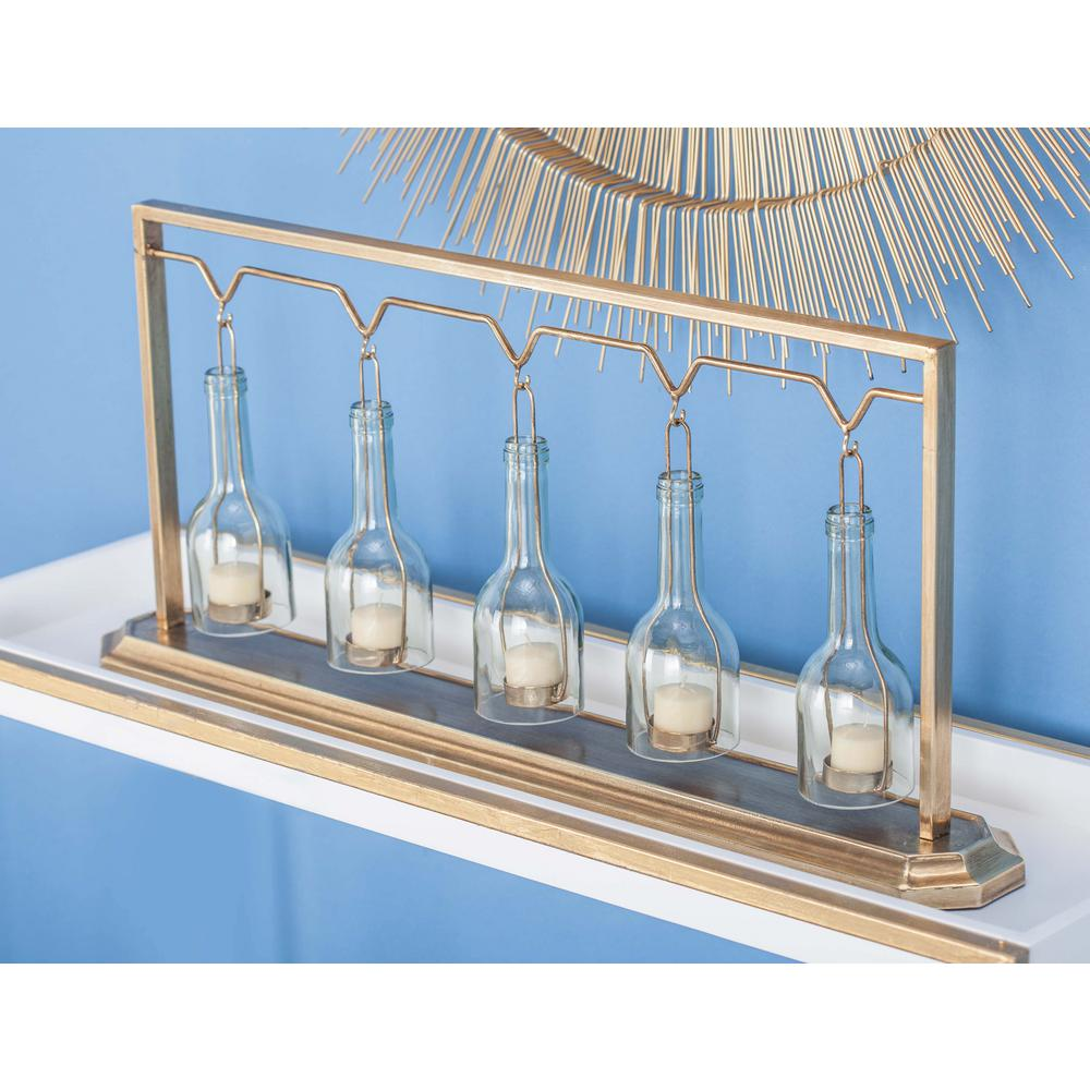 13 in. 5-Glass Gold-Finished Metal Candle Holder