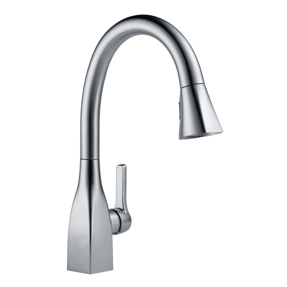 lovely Delta Deluca Kitchen Faucet #7: Delta DeLuca Single-Handle Pull-Down Sprayer Kitchen Faucet with Soap  Dispenser in Stainless-19912-SSSD-DST - The Home Depot